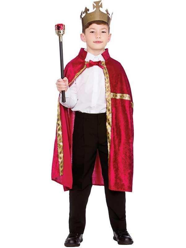 Child Deluxe King Queen Robe & Crown Burgundy Thumbnail 2