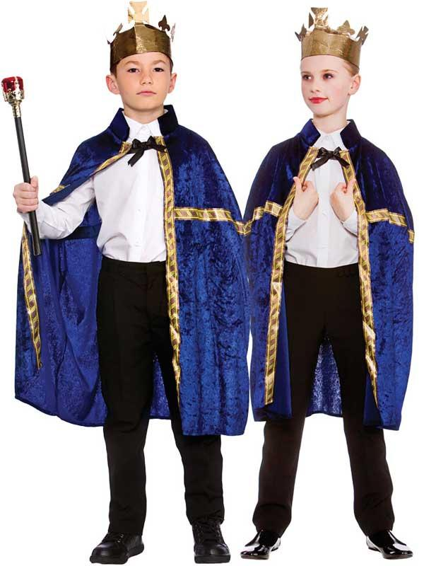 Child Deluxe King Queen Robe & Crown Blue Thumbnail 1