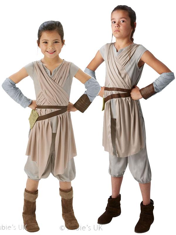 Deluxe Rey Girls Fancy Dress Disney Star Wars Force Awakens Kids Childs Costume