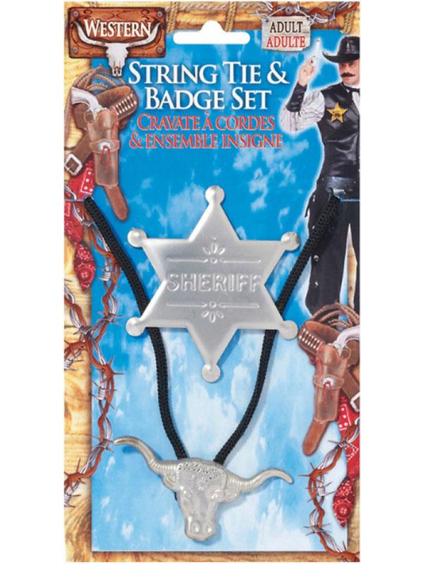 Cowboy String Tie & Badge