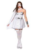 White Silver Ladies Fancy Dress Comic Book Hot Super Hero Adult Womens Costume
