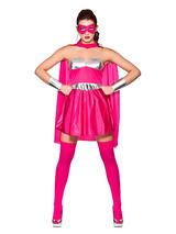 Pink Silver Ladies Fancy Dress Comic Book Hot Super Hero Adult Womens Costume