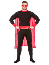 Black Red Super Hero Costume & Cape