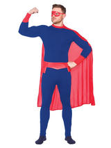 Blue Red Super Hero Costume & Cape