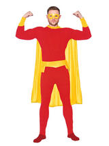 Red Yellow Super Hero Costume & Cape