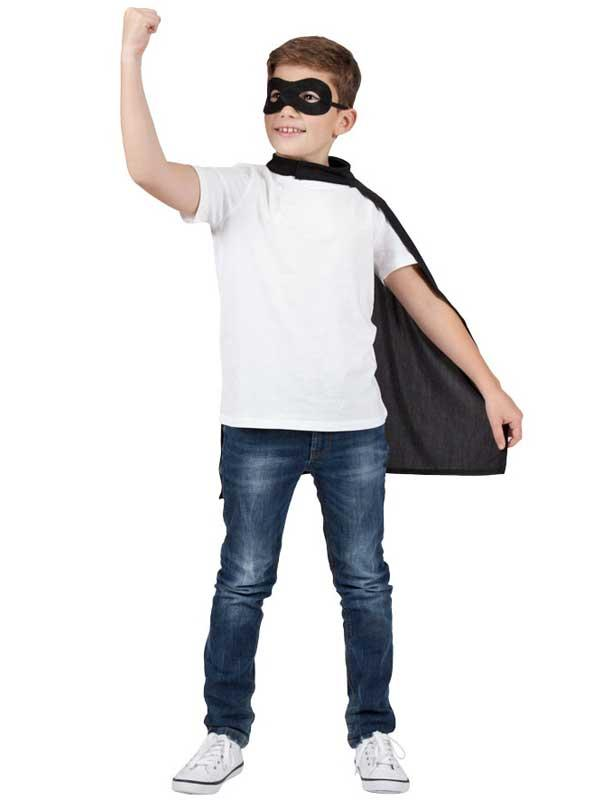 Child Super Hero Cape & Eyemask Black Thumbnail 3