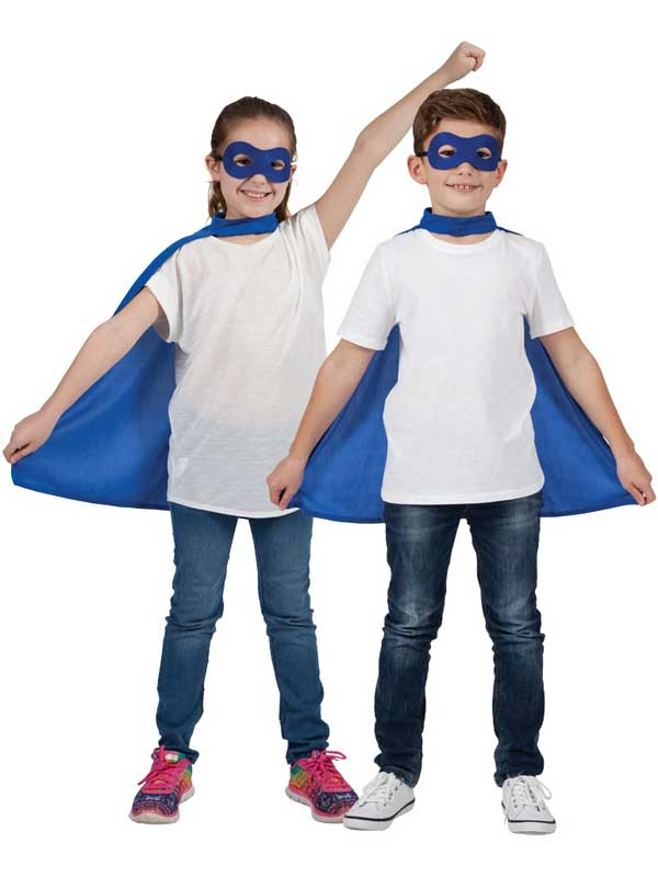 Child Super Hero Cape & Eyemask Blue