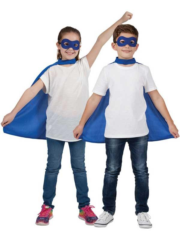 Child Super Hero Cape & Eyemask Blue Thumbnail 1