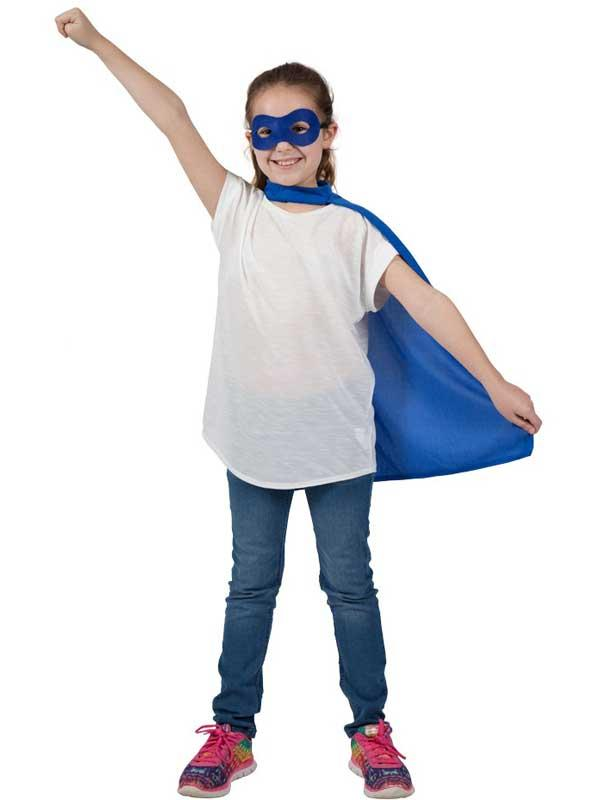 Child Super Hero Cape & Eyemask Blue Thumbnail 2