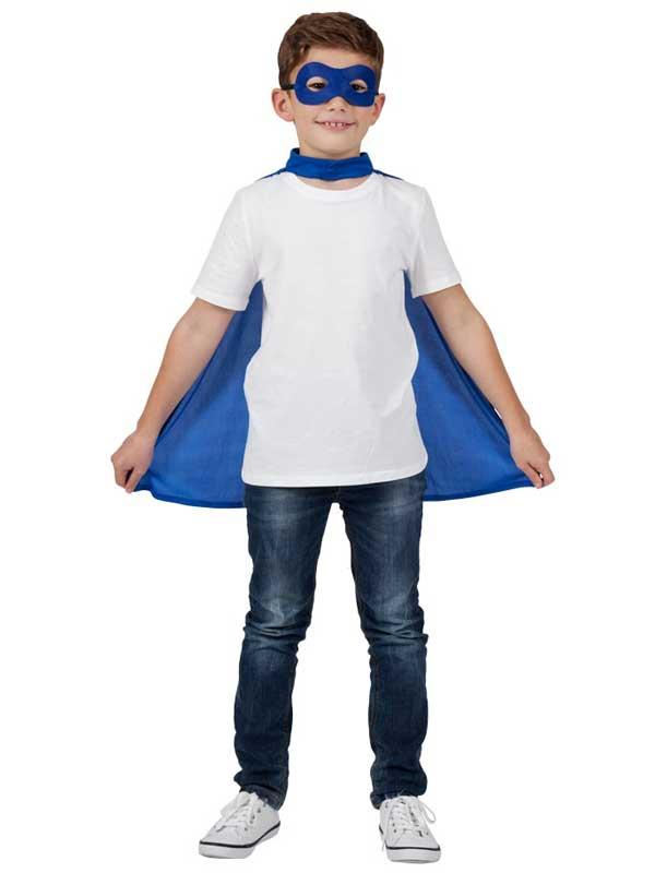 Child Super Hero Cape & Eyemask Blue Thumbnail 3