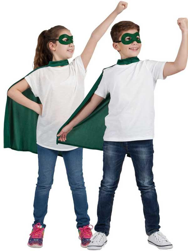 Child Super Hero Cape & Eyemask Green Thumbnail 1