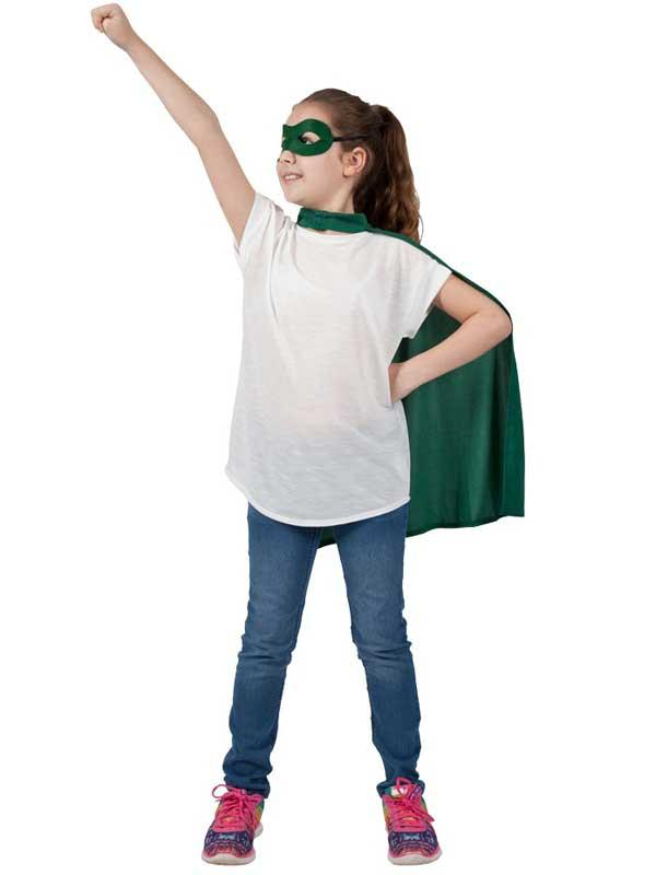 Child Super Hero Cape & Eyemask Green Thumbnail 2