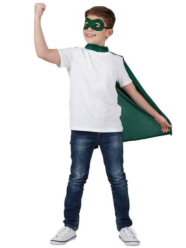 Child Super Hero Cape & Eyemask Green Thumbnail 3