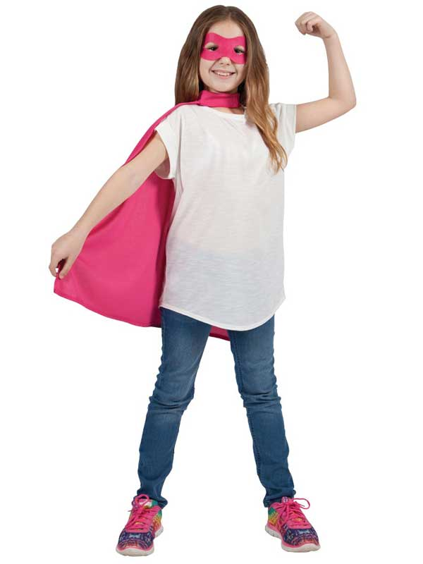 Child Super Hero Cape & Eyemask Pink