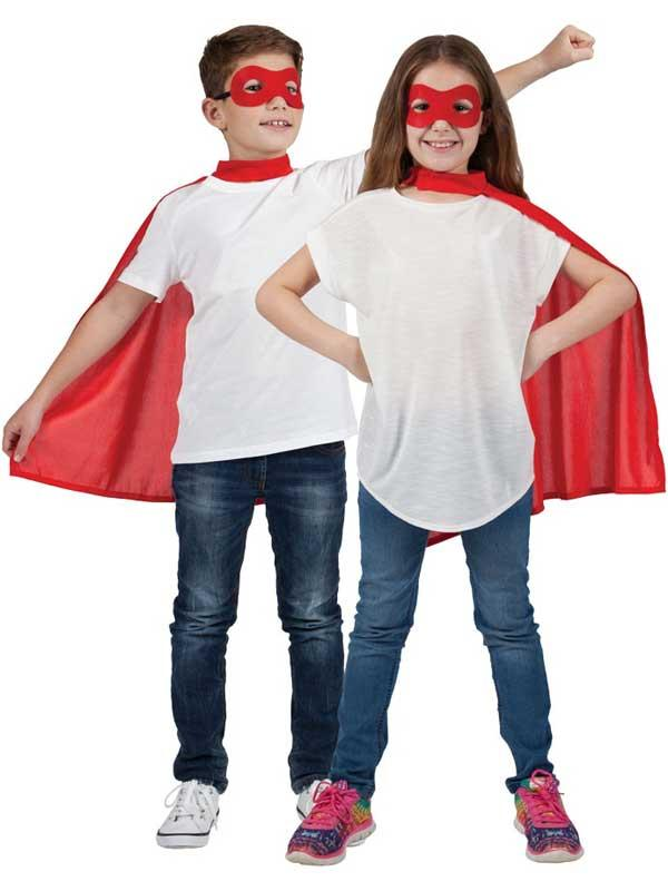 Child Super Hero Cape & Eyemask Red Thumbnail 1