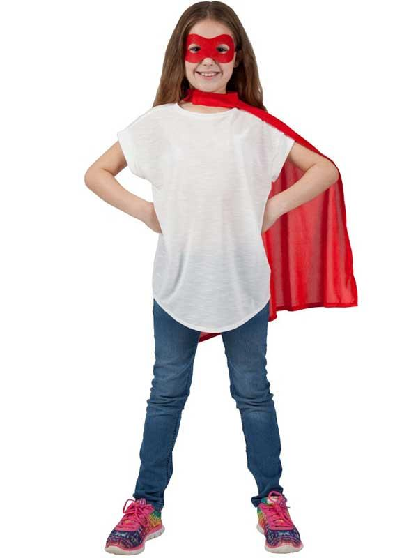 Child Super Hero Cape & Eyemask Red Thumbnail 2