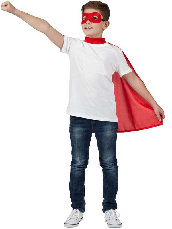 Child Super Hero Cape & Eyemask Red Thumbnail 3