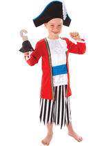 Child Capt Pirate Outfit + Hat+Hook Costume