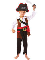Boys Kids Childs Treasure Pirate Book Week Fancy Dress Costume Hat Sword Outfit