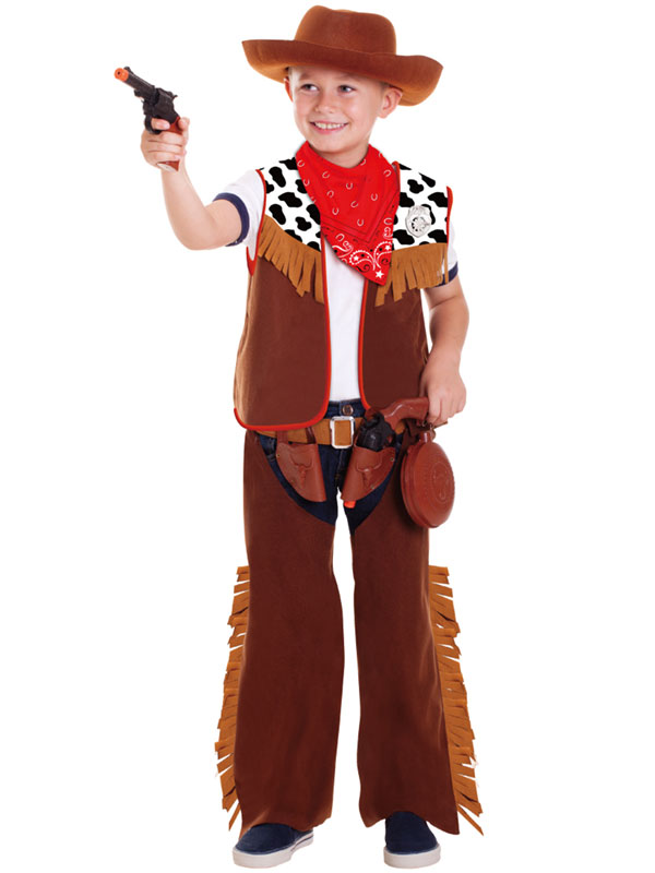 Chicos-Ninos-Wild-Western-Cowboy-Elaborado-Vestido-Juegos-De-Rol-Disfraz-para-Vestir-Kit-de-Y
