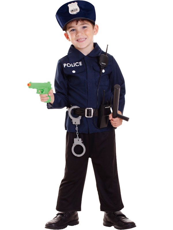 Kids Policeman Costume + Radio Set Boys Police Uniform ...