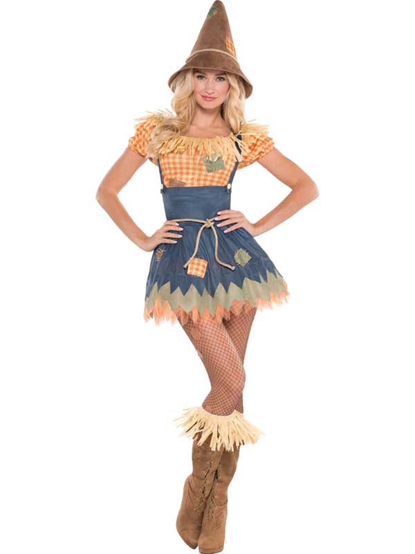 Adult Sultry Scarecrow Costume Sexy Ladies Halloween Fancy Dress