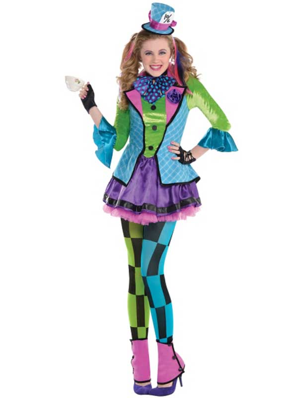 Teen Sassy Mad Hatter Costume Girls Alice Book Week Day Fancy Dress Outfit Kids Ebay