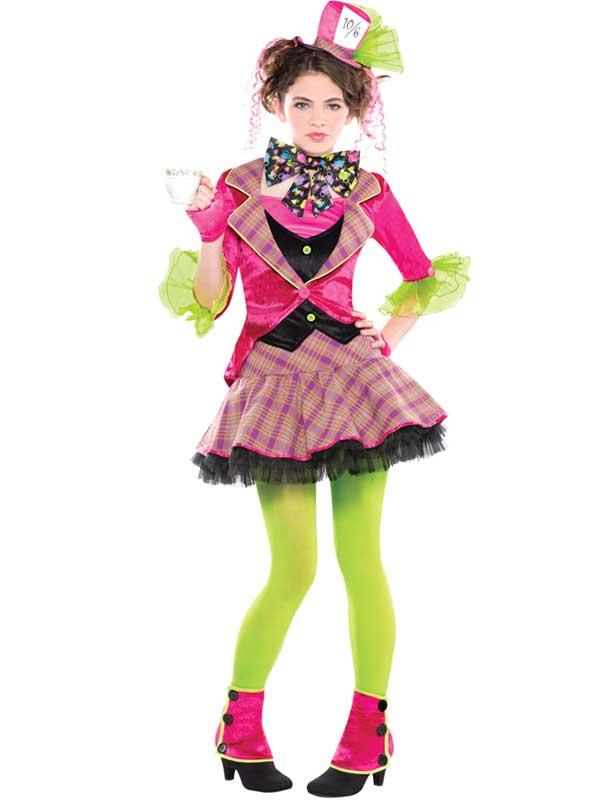 Mad Hatter Costume Girls Teen Fairytale Alice In Wonderland Fancy