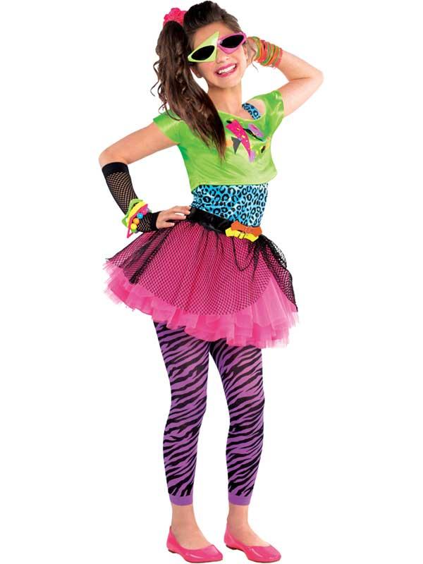 80 S totalement génial Costume Teen Fluo Rose Tutu Nouveau Robe Fantaisie Filles 10-14 ans