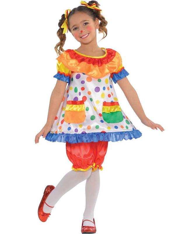 Girls Clown Hoop Dress Costume