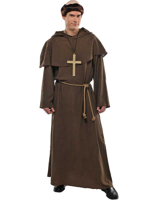 adults friar tuck costume wig mens monk fancy dress outfit religious