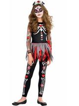 Child Girls Scared To The Bone Costume