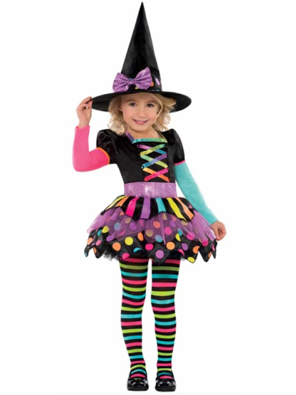 Deluxe-Girls-Toddler-Miss-Matched-Witch-Halloween-Fancy-Dress-Costume-Outfit-3-6