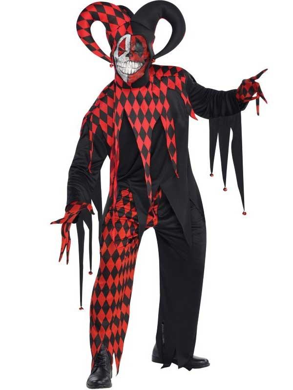 Sentinel Mens Teens Krazed Jester Evil Clown Fancy Dress Halloween Costume Circus Horror  sc 1 st  eBay & Mens Teens Krazed Jester Evil Clown Fancy Dress Halloween Costume ...