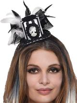 Ladies Black & Bone Top Hat Fascinator