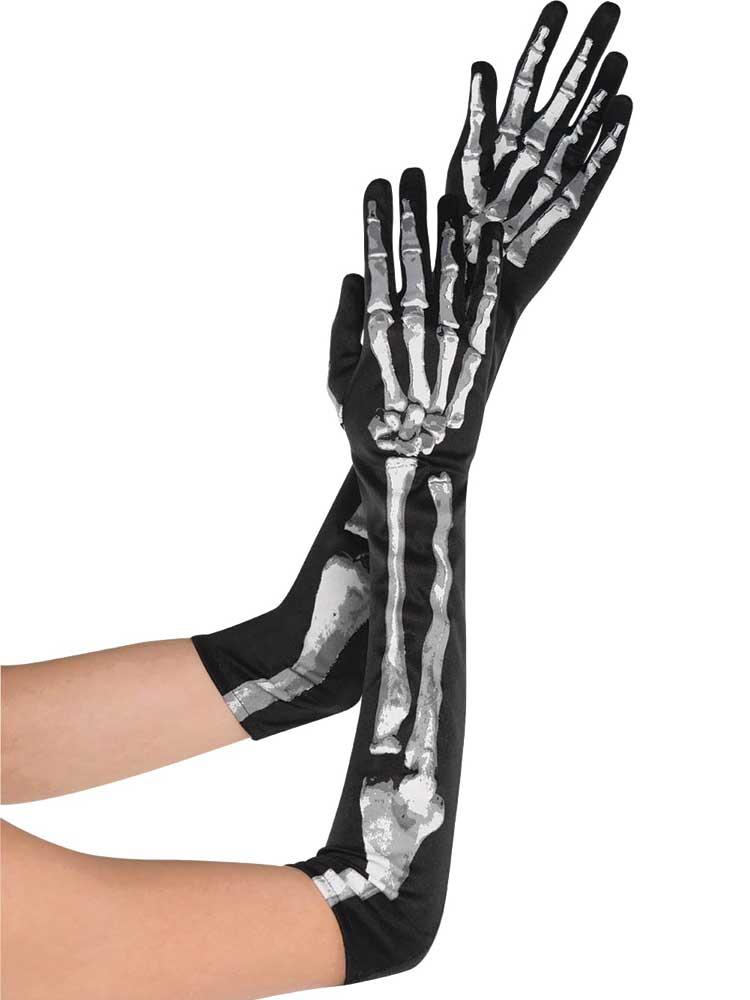 Ladies Black & Bone Long Gloves