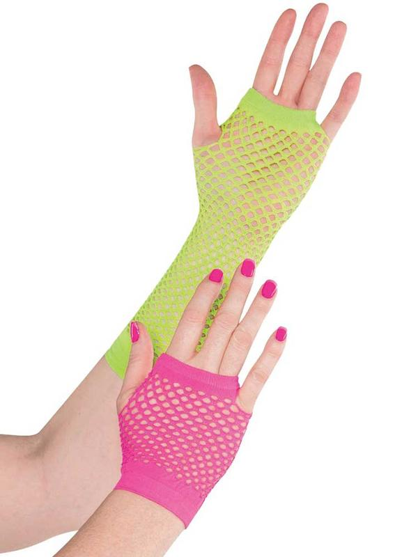 Ladies Neon Fishnet Gloves