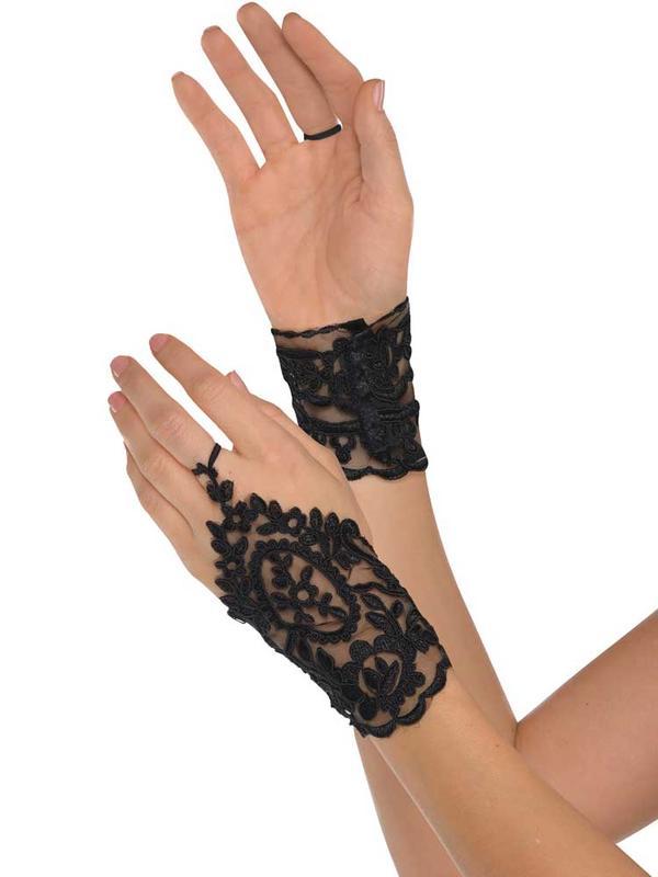 Ladies Black Lace Glovelettes