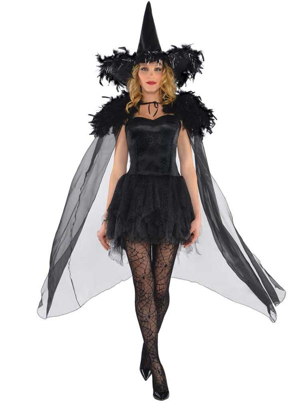 Adult Ladies Feather Witch Cape