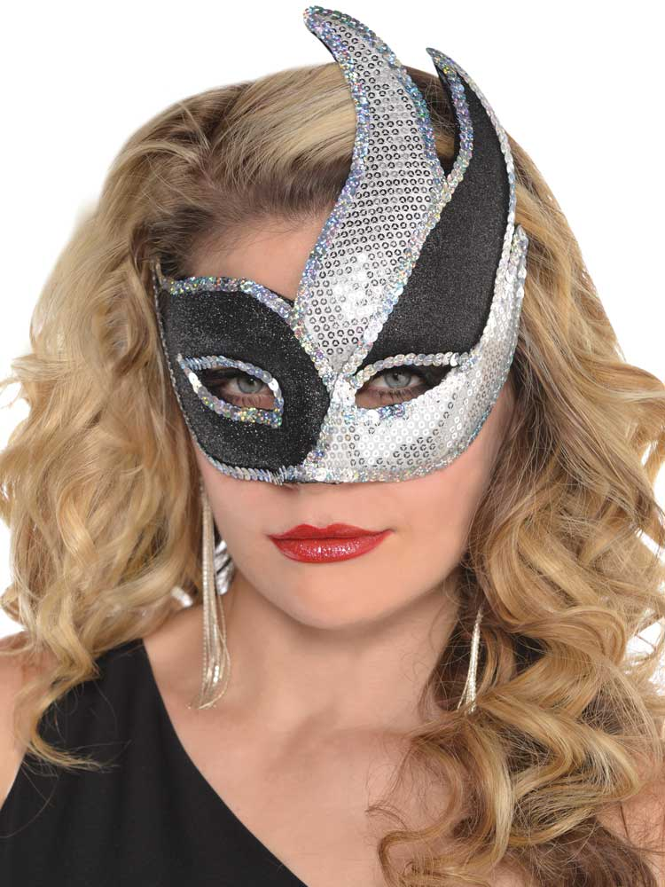 Ladies Masquerade Sequined Gangster Hat /& Face Mask Girls Sparkly Fancy Dress
