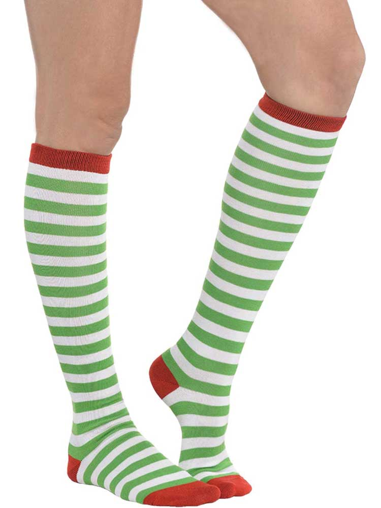 Adult Green Stripe Knee High Socks