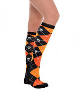 Adult Knee High Skull N Crossbones Argyle Socks - Orange