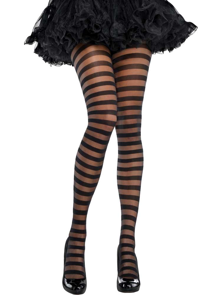 Adult Black Candy Stripe Tights