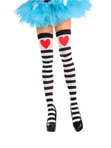 Adult Thigh Highs Heart & Stripes