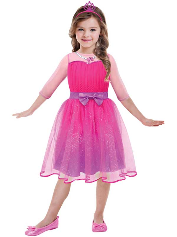 07c225b1 Sentinel Barbie Pink Princess Party Licensed Age 3-10 Girls Kid Child Fancy  Dress Costume