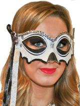 Halloween Skull Black & White Masquerade Mask