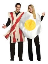 Adult Egg & Bacon Funny Fancy Dress Food Novelty Couples Humour Stag Costume