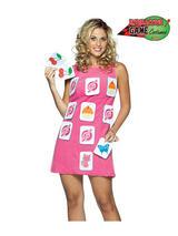 Adult Make a Match Memory Game Fancy Dress Costume Ladies Pink Patch Dress New