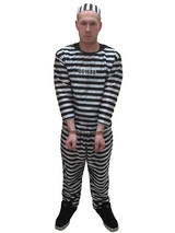 Mens Prisoner Black White Convict Stag Do Party Fancy Dress Costume Halloween