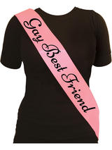 Sash Gay Best Friend Pink With Black Text